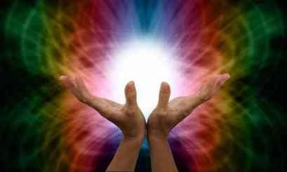 Healer working with energy