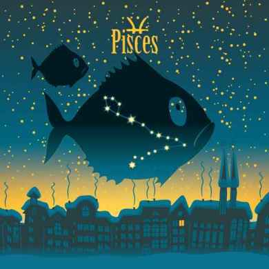 Pisces sign in the starry sky night city