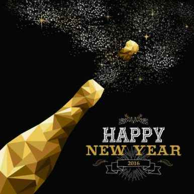 Happy new year 2016 champagne bottle low poly gold